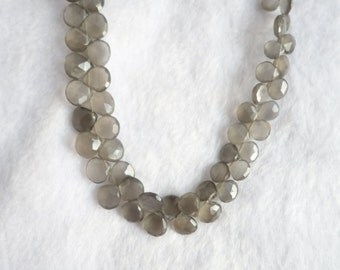Grey Moonstone Faceted Heart