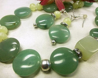 Green Aventurine set with natural jade