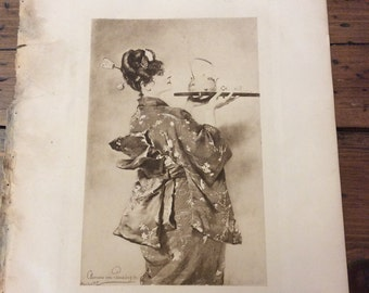 Antique Print - Lithograph, Clemens von Pausinger, Lady Chrysantheme, 1892 Book Page (B027)