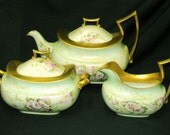Antique TV Limoges hand painted daisy heavy gold border teapot tea pot with creamer and sugar bowl