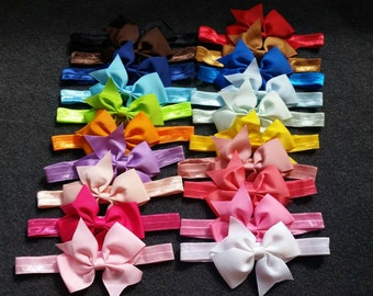 Set of 20 Baby Bow Headbands, Bow Headbands, 4 Inch Bows, Baby Bows, Baby Headbands, Infant Bow Headbands, Newborn Bows, Toddler Bows
