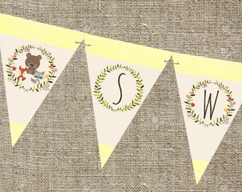 Woodland baby shower banner, sweet baby banner, woodland baby shower decorations, printable banner. Neutral baby shower banner