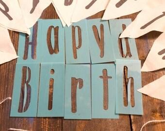 Happy Birthday Stencil for DIY Banners