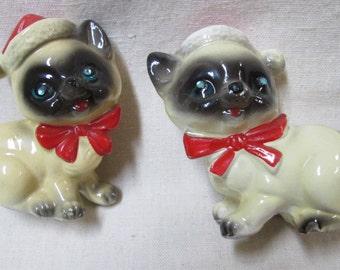 Vintage Kreiss Siamese Kitten Christmas Salt and Pepper Shakers