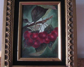 Oil On Board Cherries Still Life by Waechter San Diego, CA Artist! #BV