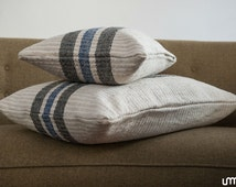 Cushion Covers from vintage Transylvanian Linen/Grain sack/woven/ vintage black and blue striped pillow cover