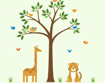 Nursery Safari Decals, Nursery Safari, Safari Animals Wall Mural - X-Large