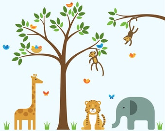 Nursery Zoo Decals, Nursery Zoo, Nursery Wall Decals - Large