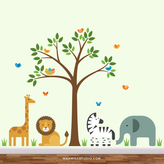Safari nursery mural safari nursery jungle wall mural for Baby room jungle mural