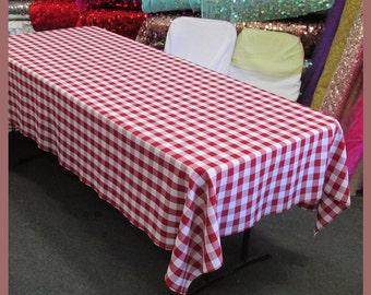 Tablecloth Checker Poly Poplin / Polyester / Gabardine Buffalo Gingham  Rectangle 58 X 108 Inches