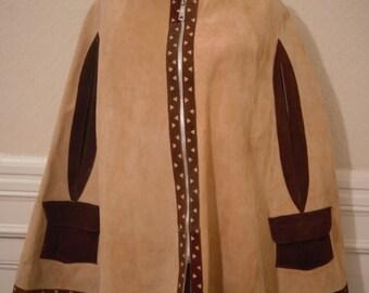 VINTAGE 60s Suede Poncho// Zipper Detailing//Front Pockets