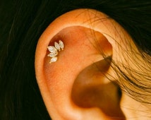 CZ Crown cartilage earring, tiara tragus earring, crown conch earring, dainty crystal cartilage piercing, rose gold stud, Most popular item