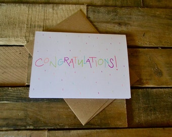 Handwritten Greeting Card | Congratulations | 1 Card + Envelope