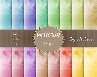 80% OFF SALE , Watercolor Digital papers pack , Digital Paper , Scrapbooking papers , Digital Backgroud