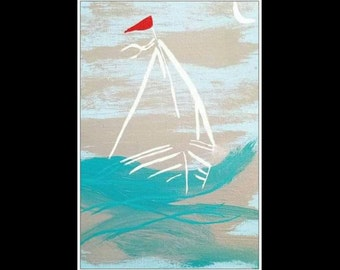 "Minimalist Teal Ocean SAILBOAT Coastal Minimal Art PRINT By Scott D Van Osdol 11"" x17"" Poster Of My Original Artwork Colorful Ready To Frame"