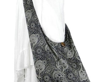 Paisley Black Cotton Bag Handbags Hippie Bag Hobo Bag Boho Bag Shoulder Bag Sling Bag Messenger Tote Bag Sling Crossbody .