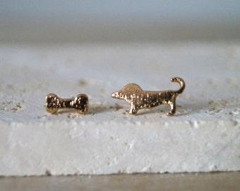 Dog Stud Earrings - Dog and Bone Earrings - Gold Plated