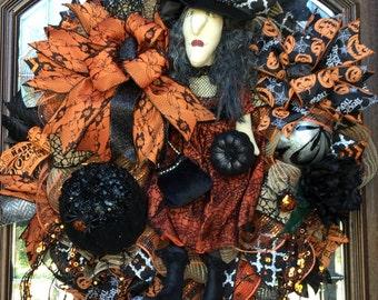 Witch Wreath. Halloween Wreath. Witch Doll