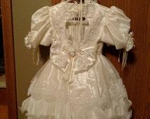 Handmade beaded flower girl dress with beaded crown toddler size 3