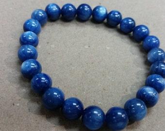 kyanite Stretch Bracelet, Beautiful Quality beads. 8mm beaded
