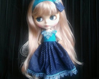 Blue and golden, handmade dress with headband for Blythe doll