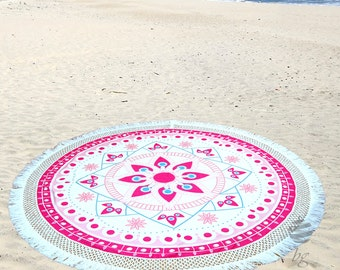 """Large Round Beach Towel Circle Rounded Towels 190cm (74"""") – Ref Harmony – Fucsia"""