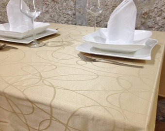 Luxury Beige Tablecloth - Anti Stain Proof Resistant - Large sizes - Ref. Lines