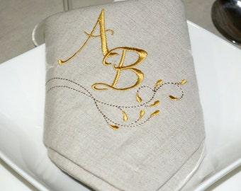 Luxury Personalized Monogram Linen Napkins - Pack of 6 units