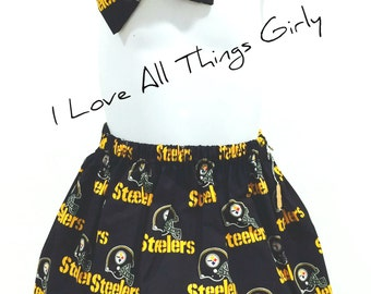 Steelers Toddler Skirt with Matching Hair Bow