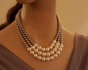 Triple Strand Swarovski Crystal Pearl Necklace