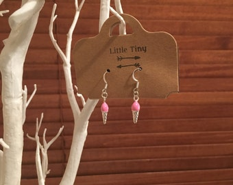 Adorable Silver and Pink Ice Cream Cone Earrings