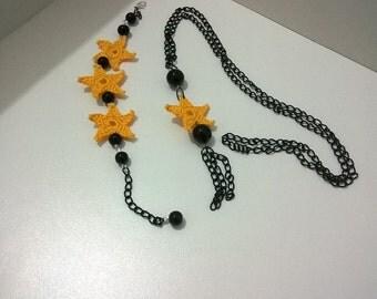 Summer crochet necklace and bracelet parure