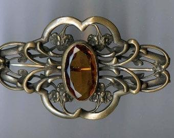 Gorgeous Art Nuveau Topaz Rhinestone Sash Clip Brooch