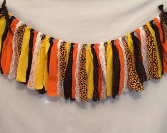 Halloween Garland/Candy Corn Decorations/Halloween Wedding/All Hallow's Eve Decor/Halloween Decorations/Fabric Garland/Fabric Tassel Garland