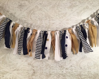 Fabric Bunting Garland/Navy Fabric Garland/Gold Fabric Bunting/Bridal Shower Decor/Rustic Wedding Decor/Photo Prop/Fabric Tassel Garland