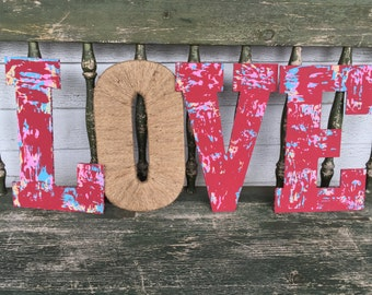 LOVE-Love letters-Custom color quote-words-wall decor-mantel decor-shabby chic-antiqued letters-wreath-rustic decor-Love sign-wood letters