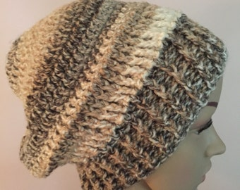 Earth tones slouchy hat