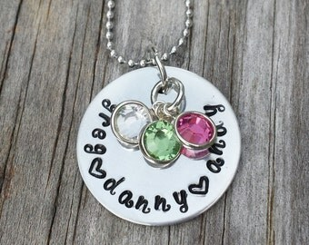 Personalized Handstamped Jewelry - Personalized Name Necklace - Mommy/Grandma necklace - Birth Month Jewelry - Personalized Names Jewelry