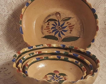 Mexican Pottery Nested Bowls Tlaquepaque