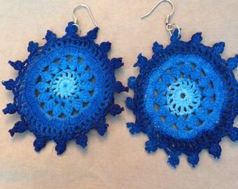 Blue toned crochet earrings- blue doily earrings- crochet jewelry