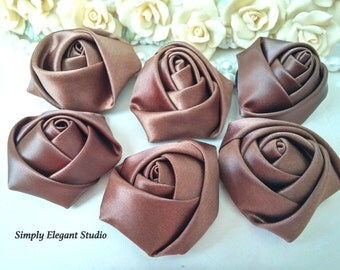 "1.8"" Brown Satin Roses, 3 Vintage Rolled Fabric Rosettes, Baby Headband Flowers, Wedding Flowers, Flower Supply"