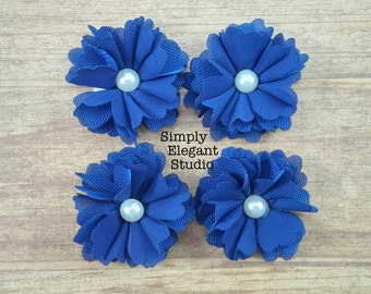 5 Small Blue Layered Fabric Flowers with Pearls, Headband Flowers, Wholesale Flowers, Flower Supply