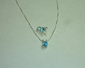 Swiss Blue Topaz Sterling Silver Necklace with Matching Earrings - Jewelry Set