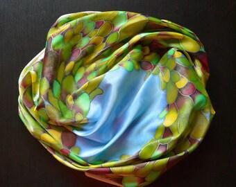 Scarf. Silk Scarf. Hand Painted Silk Scarf