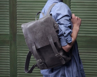 Gray leather backpack handmade gift / leather rucksack / made to order/ men woman /