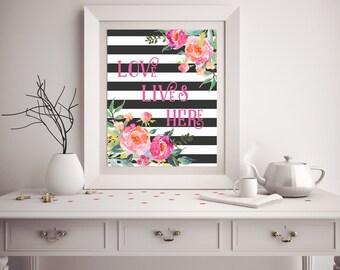 Printable Wall Art - Love Lives Here - Customizable