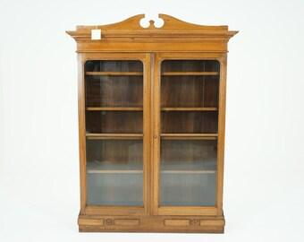 C2616 Antique Victorian Walnut Bookcase Bookshelf Cabinet