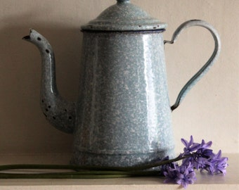 French vintage blue enameled coffee pot