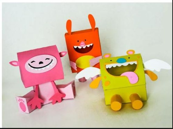 Sugar Monster Boxes Cut Files for Cutting Machines  - Includes PDF, SVG, AI, E.P.S - Layered Images with Instructions