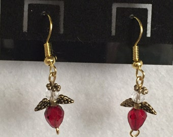 Red angel pierced earrings